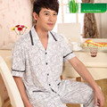 Homens pijamas de Verão Dos Homens Calças de Pijama Curto-Manga Sleepwear Xadrez Pijamas De Bambu Homens Set Lounge Pijama Plus Size 4XL/5XL