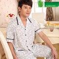 Pajamas Men Summer Mens Pyjamas Short-Sleeve Trousers Sleepwear Plaid Bamboo Pajamas Men Lounge Pajama Set Plus Size 4XL/5XL