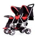 Azul Xadrez Vermelha Gêmeos Carrinho De Bebê, Dobrável Viagem Stroller, Pram Twins Crianças Carrinho de Bebé, Bebê Carro Barato Carrinhos duplos