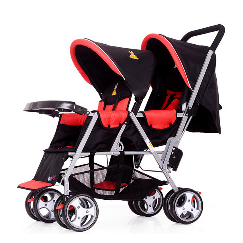 Blue Red Plaid Twins Baby Stroller,Folding Travel Stroller,Pram Twins Kids Carriage Pushchair,Cheap Baby Car Double Strollers double stroller red pink blue color twins infant stroller sale kids sleep comfortable more at ease sophisticated technologies