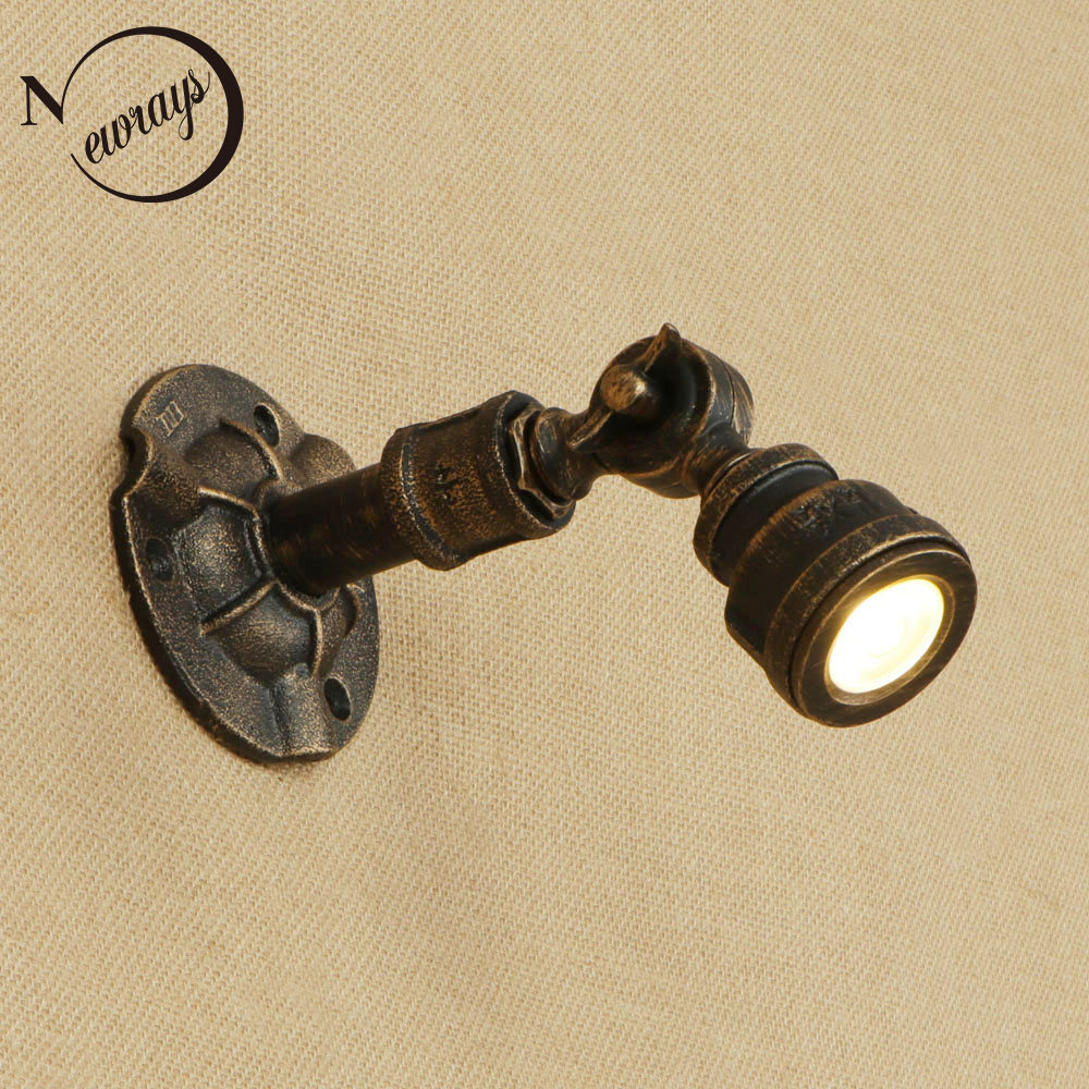 Vintage iron water pipe wall lamp art deco industrial adjustable wall light LED for bedroom restaurant living room cafe hotel