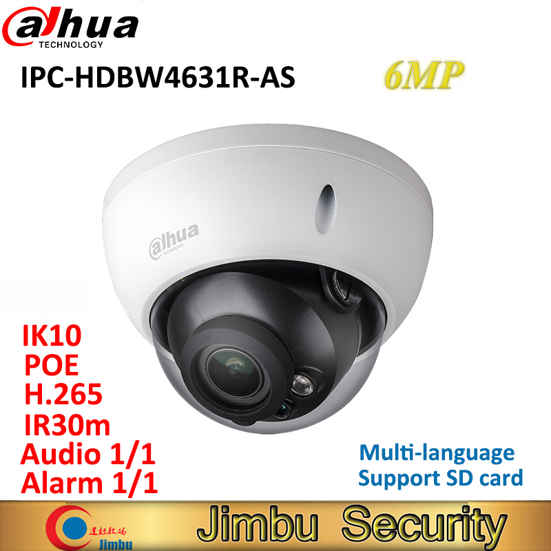 Dahua 6MP IP camera IPC-HDBW4631R-AS POE IK10 IP67 Audio and Alarm in/out IR30m H.265 CCTV security camera support SD card dahua 4mp cctv ip camera ipc hdbw4433r as support ik10 ip67 audio and alarm poe camera with ir range 30m