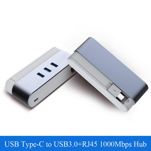 3 Ports USB Type C to USB 3.0+RJ45 Hub USB-C 1000Mbps Ethernet Combo with OTG Function For New Macbook Chromebook Pixel Mobile