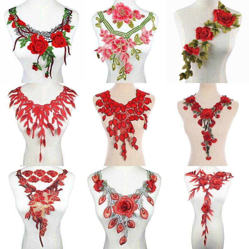 1PC Floral collar Exquisite Red Neckline Lace Collar diy Fine Applique DIY lace collar Ladies clothing accessories Scrapbooking