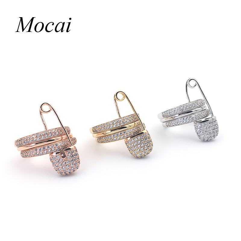 Mocai Unique Personality Pin Ring Three Circle Zircon Paved CZ Stone Silver Rose Gold Color Broochh