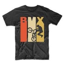 Vintage Retro 1970 estilo Bmx bicicleta silueta camiseta-grande negro 100% de algodón de verano de los hombres Tops camisetas de impresión divertida