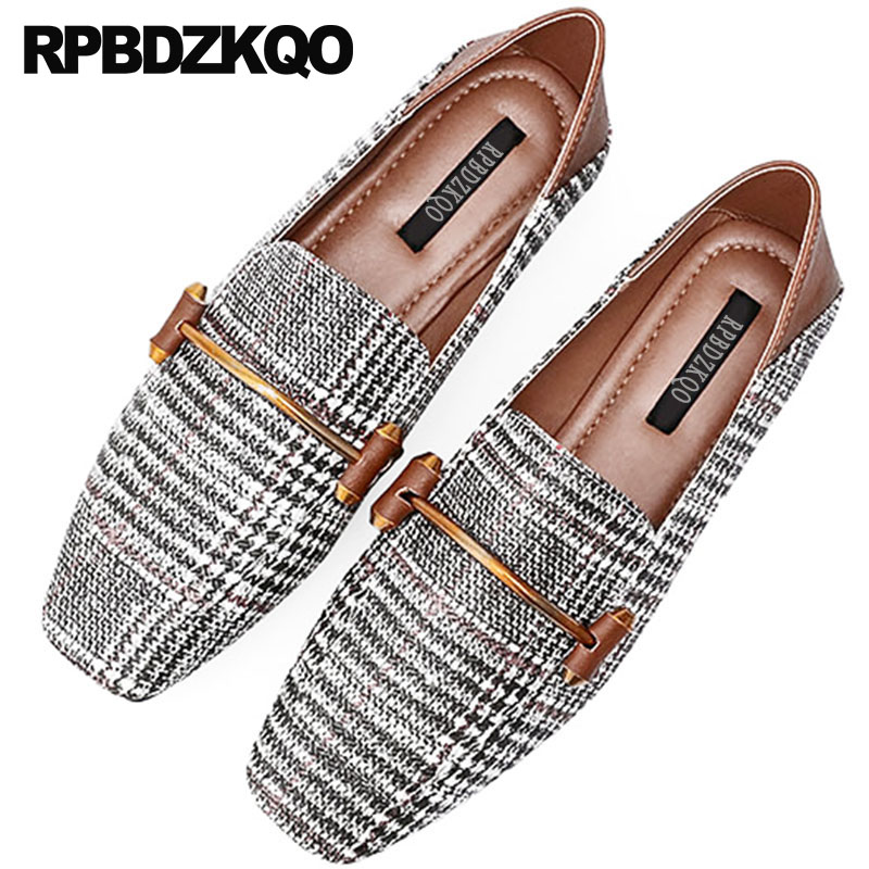 plaid flats large size wide fit shoes ladies china 2018 designer gingham square toe brown chinese metal women big retro loafers цены онлайн