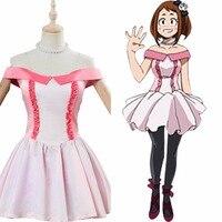 Boku no My Hero Academia Cosplay Ochako Uraraka Costume Two Heroes Party Pink Dress Outfit Halloween Carnival Costume