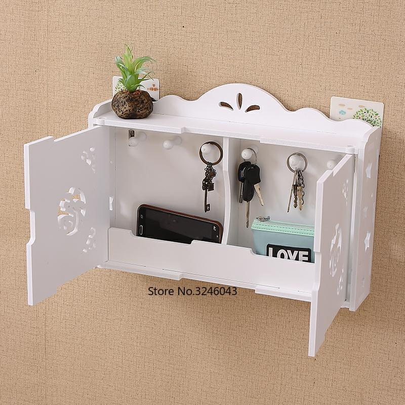 . US  19 84 20  OFF Simple and modern wall shelves hook free drilling living  room decorative wall hanging key storage box finishing box in Storage Boxes