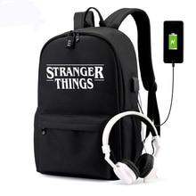 BPZMD borsa luminosa multifunzione USB ricarica Stranger Things zaino da viaggio in tela per studenti borsa da scuola per ragazzi