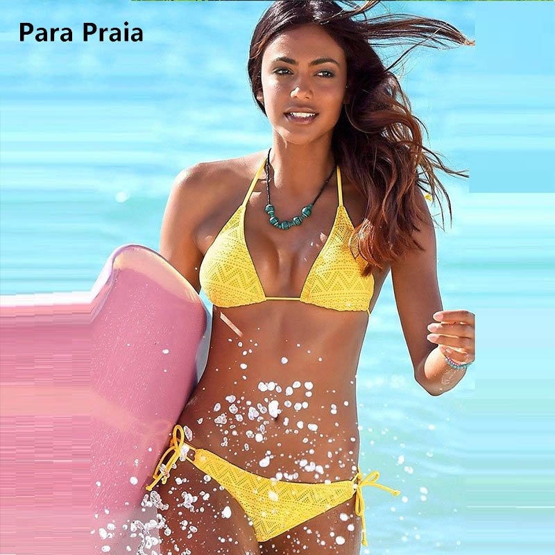 Sexy Bikini Brésilien 2018 Femmes Maillots De Bain Bandage Bikini Set Beach Maillot de bain Push Up Maillot de Bain Plage waer Maille Biquinis Solide