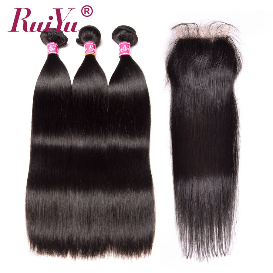 RUIYU Indian Straight Hair 3 Bundles With Closure 100% Human Hair Weave Bundles With 4*4 Lace Closure Non Remy Hair Extensions