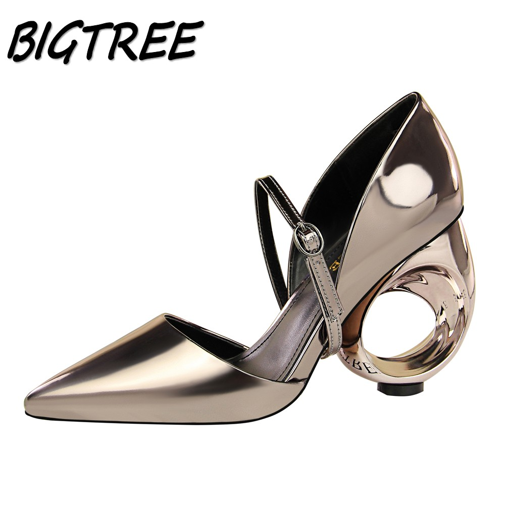 BIGTREE Summer Women Pointed Toe High heels Shoes Woman Pumps Ladies Fashion metal Hollow out Strange Style Party Wedding Shoes egonery women fashion pumps for summer pointed toe low heel shoes hollow pumps out side footwear elegant shoes woman plus size