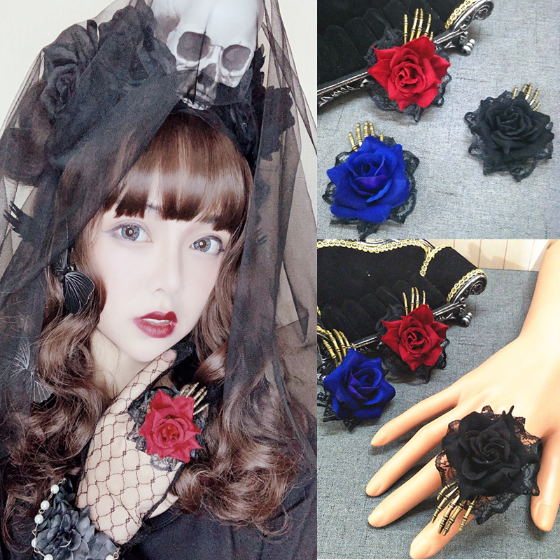 Handmade Lolita Gothic Devil Claw Rose Rings Prop Cosplay Accessory Halloween