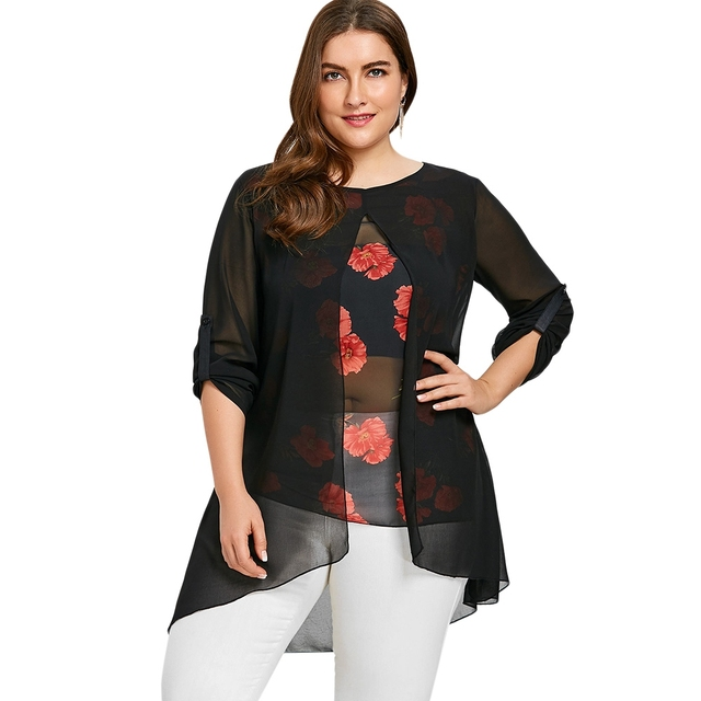 bc2aec6865 Floral Print Fake 2-Piece High Low Hem Blouse Shirt Women Clothing Long  Sleeve Asymmetrical Chiffon Loose Tops Blusas Plus Size