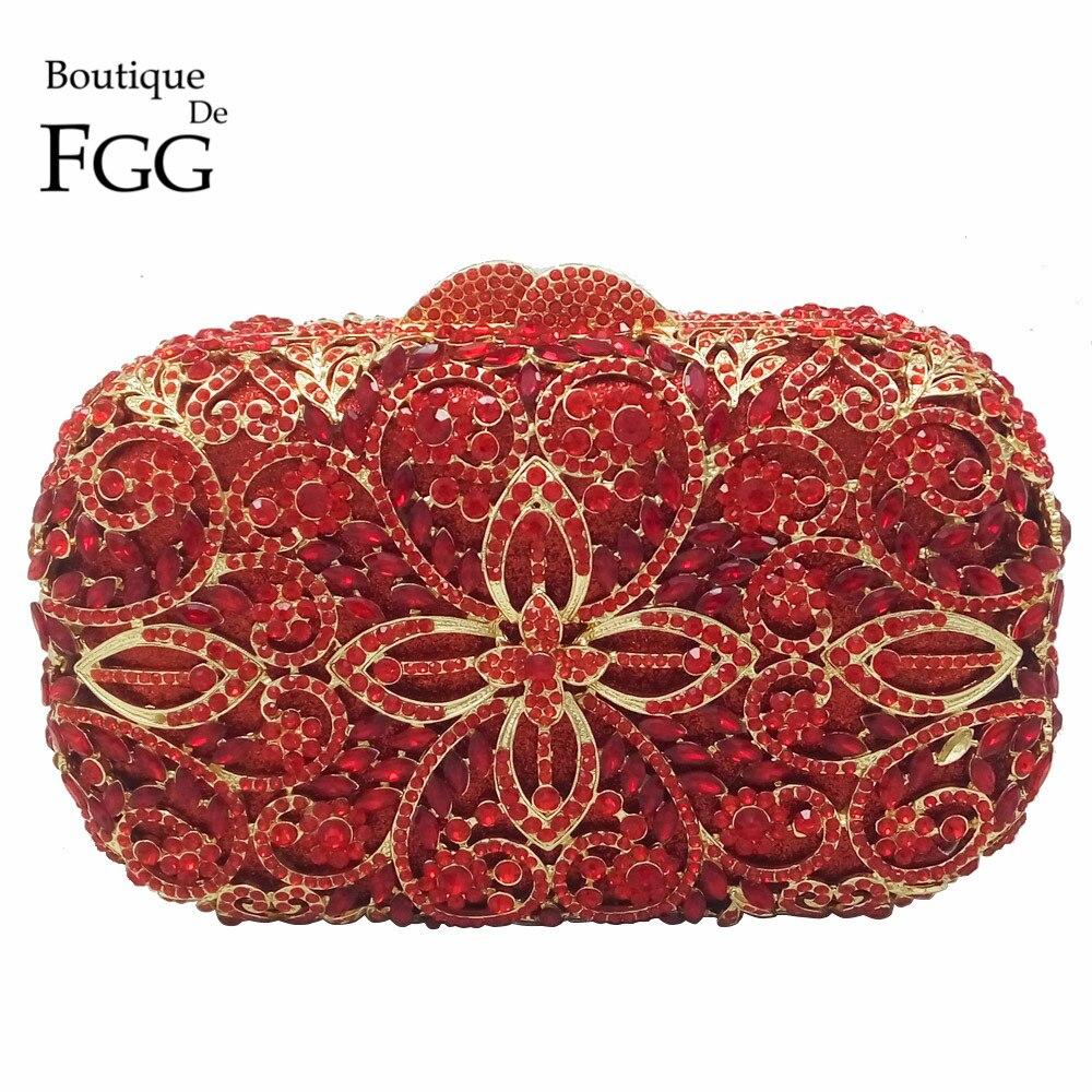 ФОТО Elegant Ruby Red Crystal Rhinestones Women Evening Clutch Hard Case Minaudiere Party Handbag Purse Bridal Clutches Wedding Bags