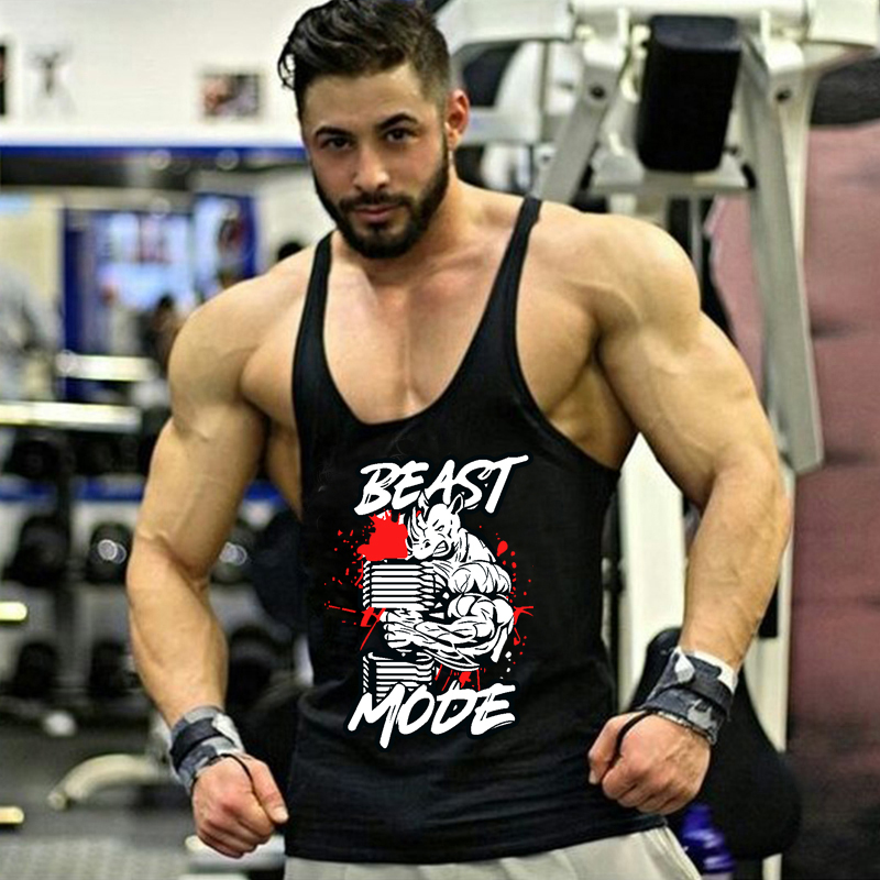 Men's Clothing Brand Skull Beast Gyms Clothing Bodybuilding Tank Top Men Fitness Singlet Sleeveless Shirt Cotton Workout Stringer Vest Tops & Tees