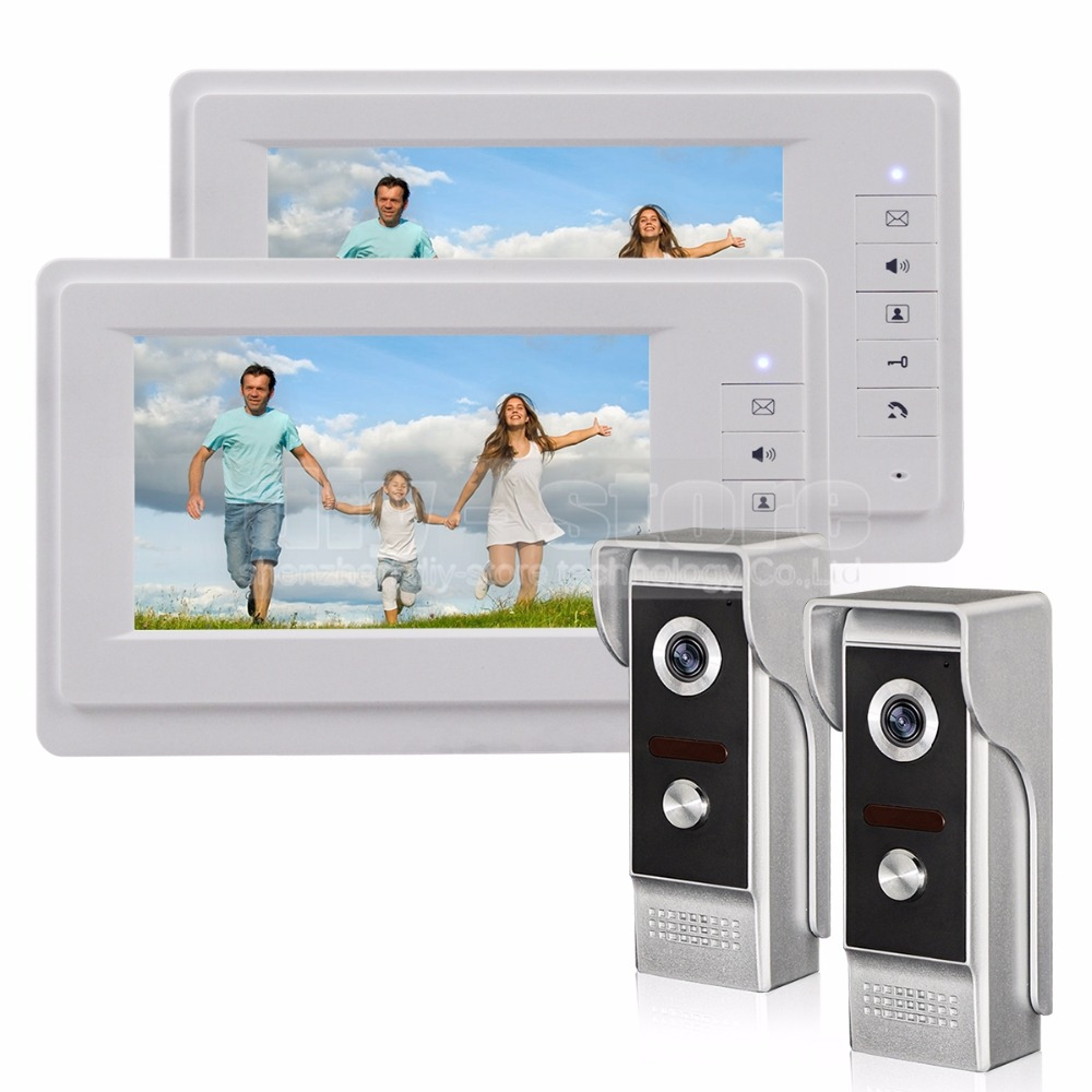 DIYSECUR 7 inch TFT Color LCD Display Video Door Phone Video Intercom Doorbell 700TVLine HD IR Night Vision Camera 2V2 7 inch video doorbell tft lcd hd screen wired video doorphone for villa one monitor with one metal outdoor unit night vision