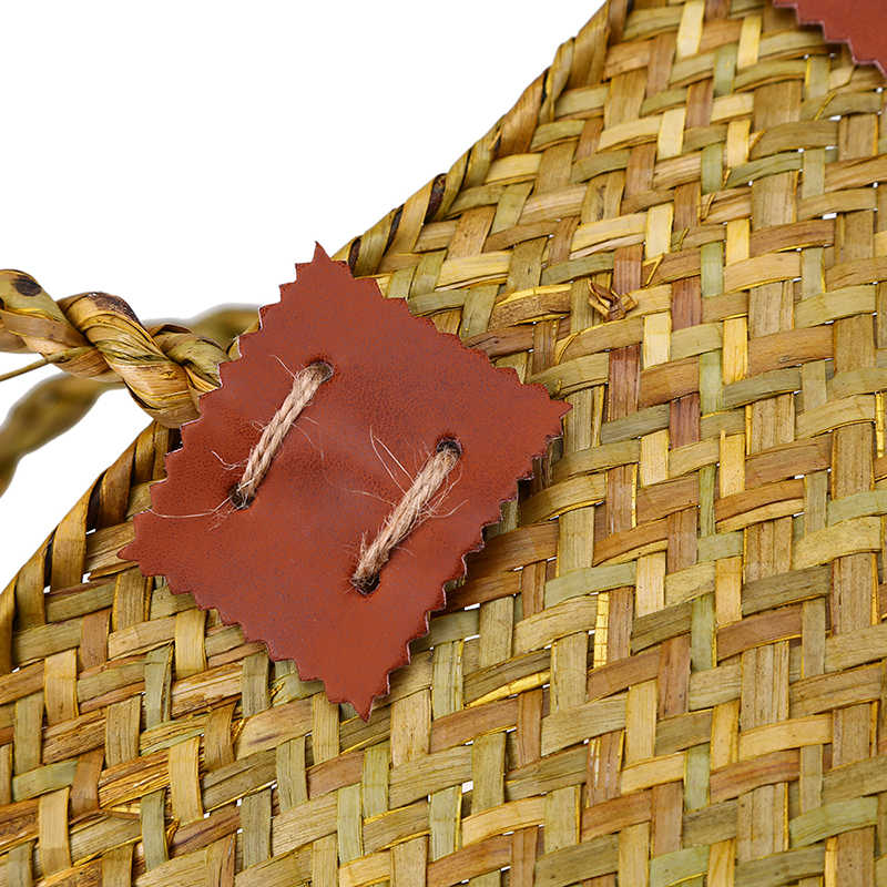 WHISM Seagrass Artesanal Saco De Armazenamento Pendurado cesta de Armazenamento Cesta de Vime Cesto de roupa suja Cesta Tecida Cestas de Flores Mulheres Bolsa