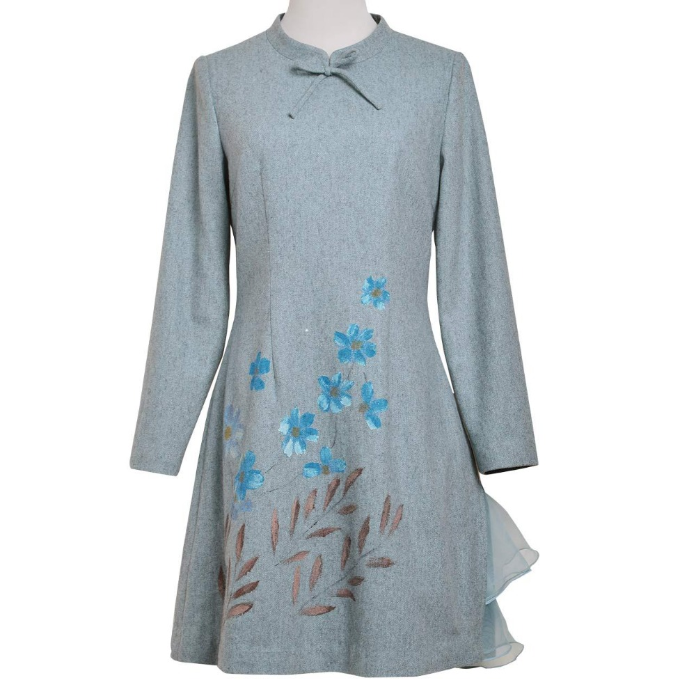 2016 herbst Frauen kleid Vintage Retro Elegante Stehkragen Langarm Tunika Vestidos-in Kleider aus Damenbekleidung bei  Gruppe 3
