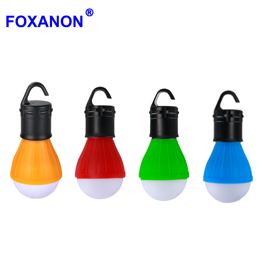 Foxanon Portable LED Camp Lights Bulb Lamp Outdoor Hanging 3LED Camping Lantern Soft Light For Camping Tent Fishing 4 Colors