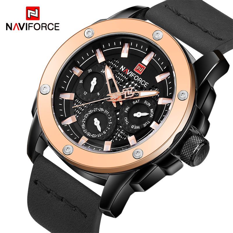 NAVIFORCE Men Watches Top Brand Fashion Sport Watch Men's Military Leather Quartz Wrist Watch Male Date Clock Relogio Masculino genuine curren brand design leather military men cool fashion clock sport male gift wrist quartz business water resistant watch