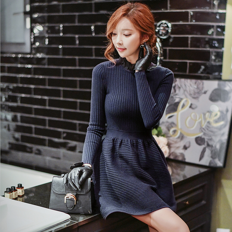 4e0f9ce6e335 Original 2016 Brand Knitted Dress Autumn Winter Elegant Casual Navy Blue  Warm Sweater Dresses Women