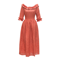 Autumn Women French Vintage Royal Slash Neck Half Sleeve Handmade Ruffle Brick Red Cotton Linen Long Maxi Dress