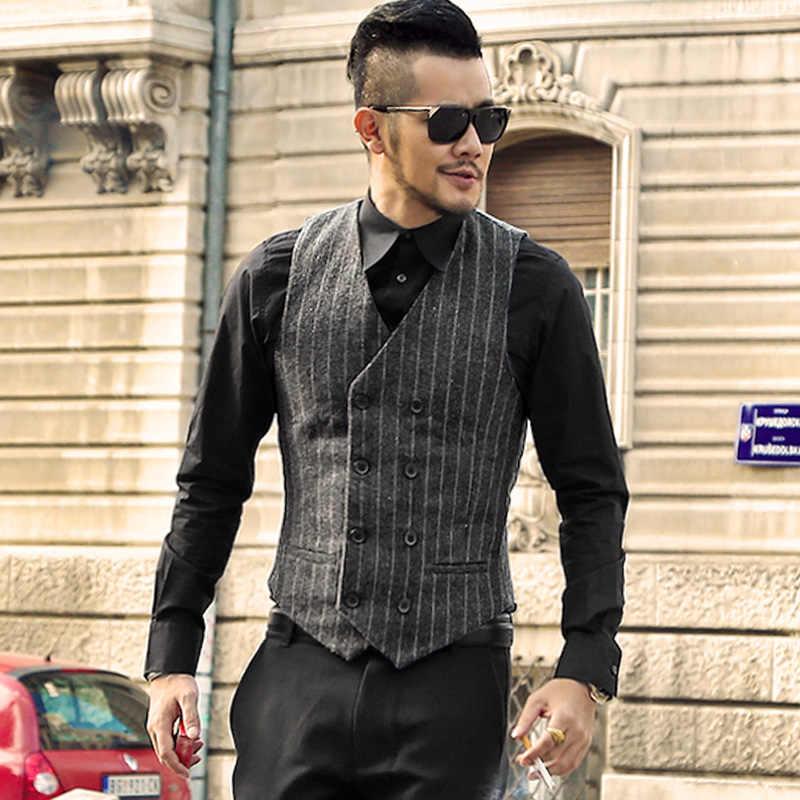 Зимний мужской деловой костюм в полоску жилет новый английский мужской полосатый жилет для делового костюма двубортный жилет Повседневный свадебный жилет