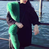 2017 Super Long Scarf Winter Fashion Faux Mink Scarfs Decorations Luxrious Designer Faux Fox Fur Collar