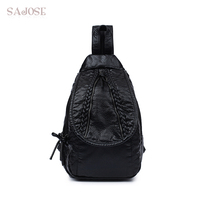 SAJOSE 2017 Fashion Japan And South Korea Style Multifunctional Washed Leather Weaving Backpack Leisure Chest Women