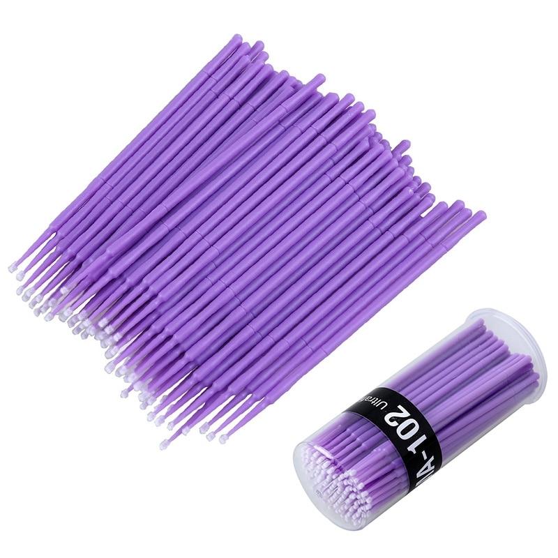 100pcs Plastic Handle Microbrush Disposable Extension Eyelash Mascara Applicator for Lash Brush Tool
