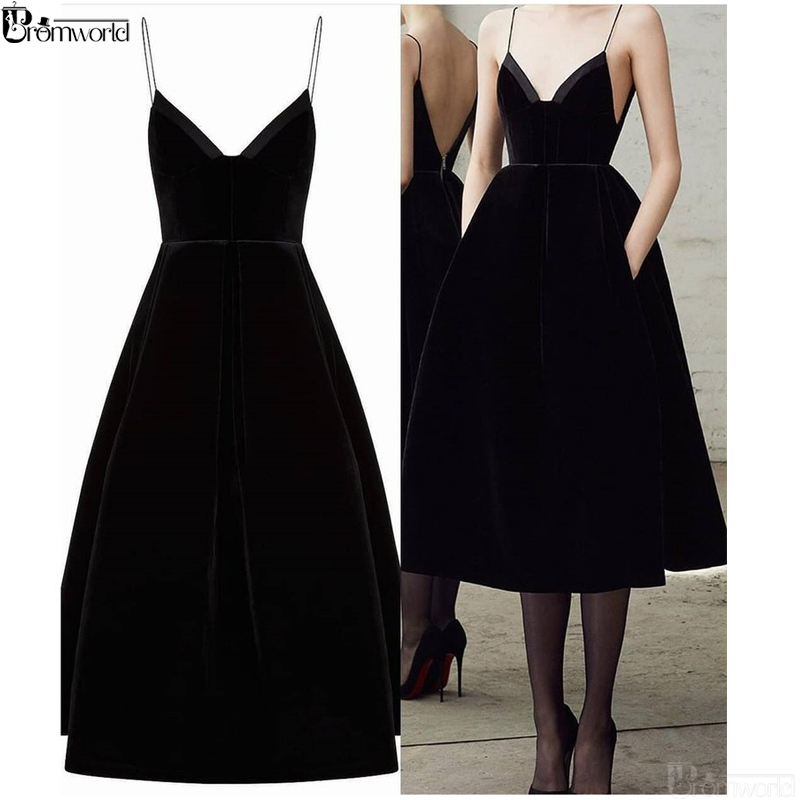 Simple Black Short Homecoming Dresses 2020 V Neck Spaghetti Straps Tea Length Sexy Prom Dress With Pockets Party Cocktail Gowns
