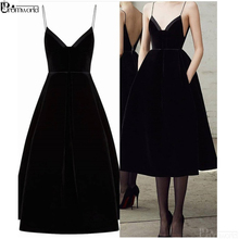 Homecoming-Dresses Cocktail-Gowns Tea-Length Black Short V-Neck Pockets with Party Spaghetti-Straps
