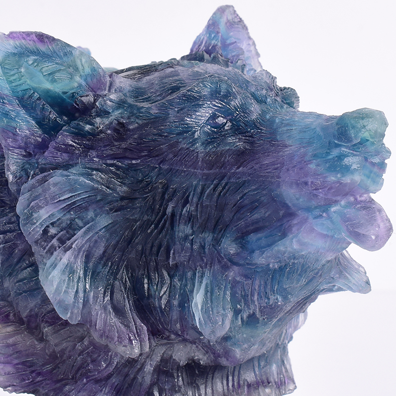 Moderna pietra naturale fluorite spirito bestia lupo Testa 1000g statua Ornamento Animale scultura Artigianato per la Casa feng shui di Arte-in Statue e sculture da Casa e giardino su  Gruppo 2
