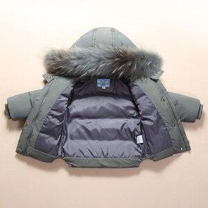 Image 5 - Moda kış erkek bebek giyim setleri 1 3Y erkek kayak takım elbise çocuklar spor tulum sıcak palto kürk ördek aşağı ceketler + önlük pantolon