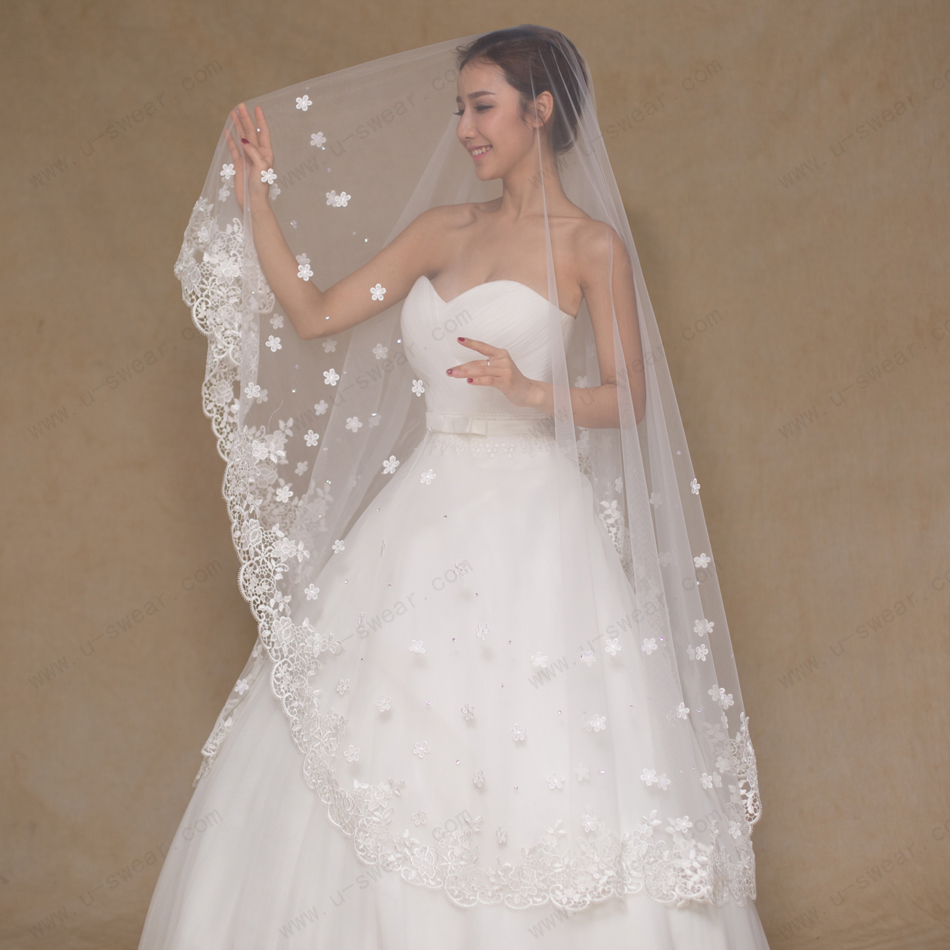 bridal veils wedding veils ivory fingertip length bridal veil single tier lace edging veil 1