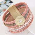 2017 Luxury Boho Bamboo Leather Bracelets Bangles with Magnetic Buckle Wrap Jewelry Pulsera for Women brazaletes pulseras mujer