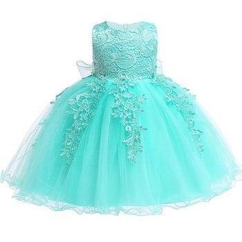 5d0b64fb8 Vestido de bebé niña recién nacido para 1 año vestido de fiesta de  cumpleaños bordado tutú Infante vestidos de flores 0-2 años ropa
