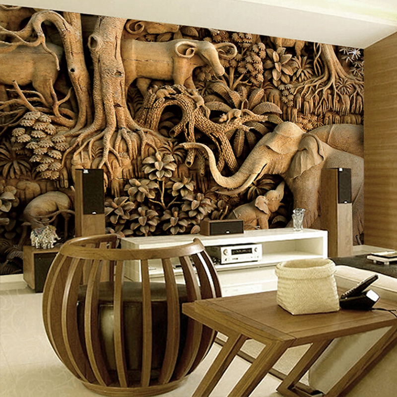 Large Wood carving Elephant Wallpaper 8D Papel Mural for Living Room Background 3d Wall Photo Murals Wall paper 3d Sticker custom 3d photo wallpaper mural nordic cartoon animals forests 3d background murals wall paper for chirdlen s room wall paper