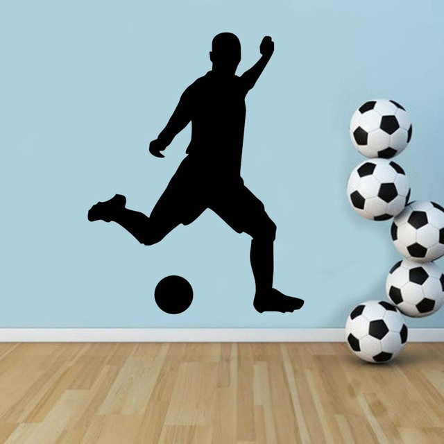 Football Soccer Player Playing Soccer Vinyl Wall Stickers Self Adhesive Wallpaper Sport Art Murals For Kids