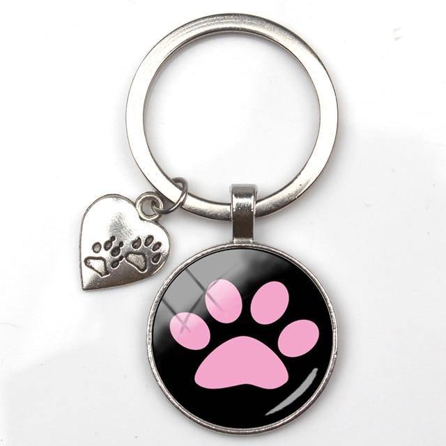 Ellepigy Cute Alloy Pet Paw Printed Charm Pendant Keychain Creative Letter Heart Shaped Keyring Keyfob Handbag Decor
