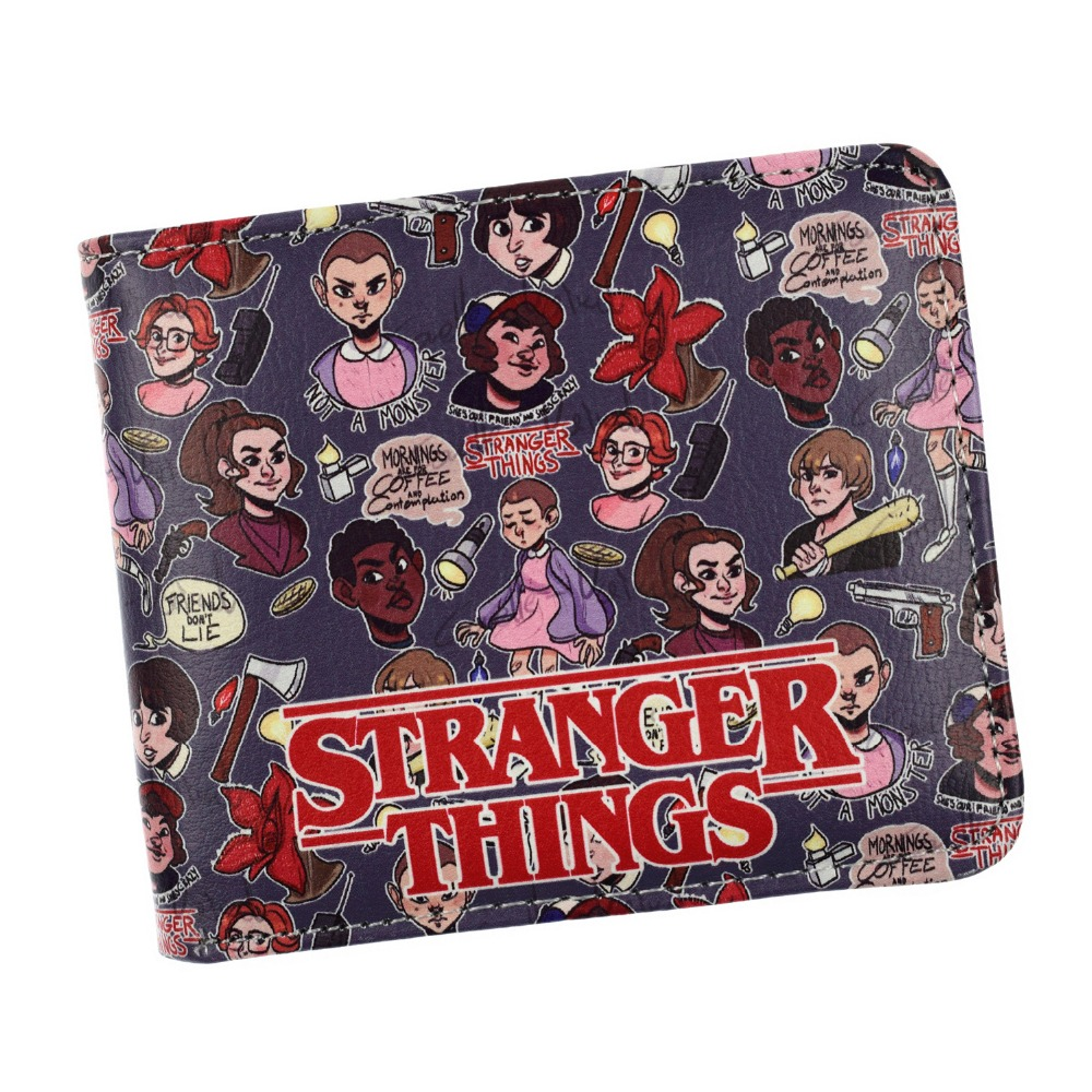 FVIP 2018 Free Shipping Stranger Things Wallet Cartoon Bi-fold ID Credit Card Holder Coin Purse