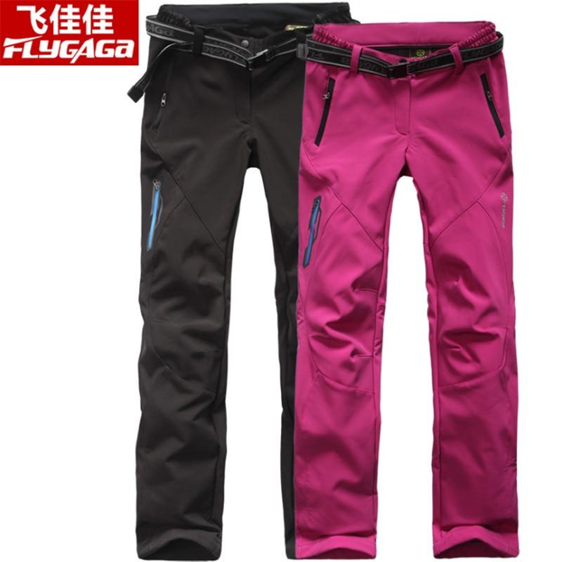 FLYGAGa Outdoor Hiking Pants Men Trekking Pants Women Softshell Waterproof Pants Winter Warm Fleece Windproof Hunting Trousers цена
