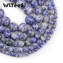 WLYeeS Natural Bule spot stone beads round loose 4-12mm multi-size ball jewelry bracelet making DIY Accessories 15