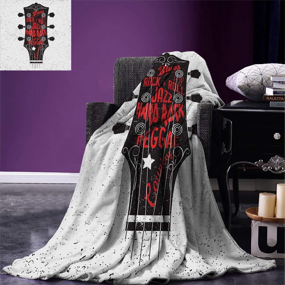 Guitar Throw Blanket Hand Drawn Genres Blues Pop Hard Rock Reggae Country Music Illustration Fleece Blanket for Bed illustration