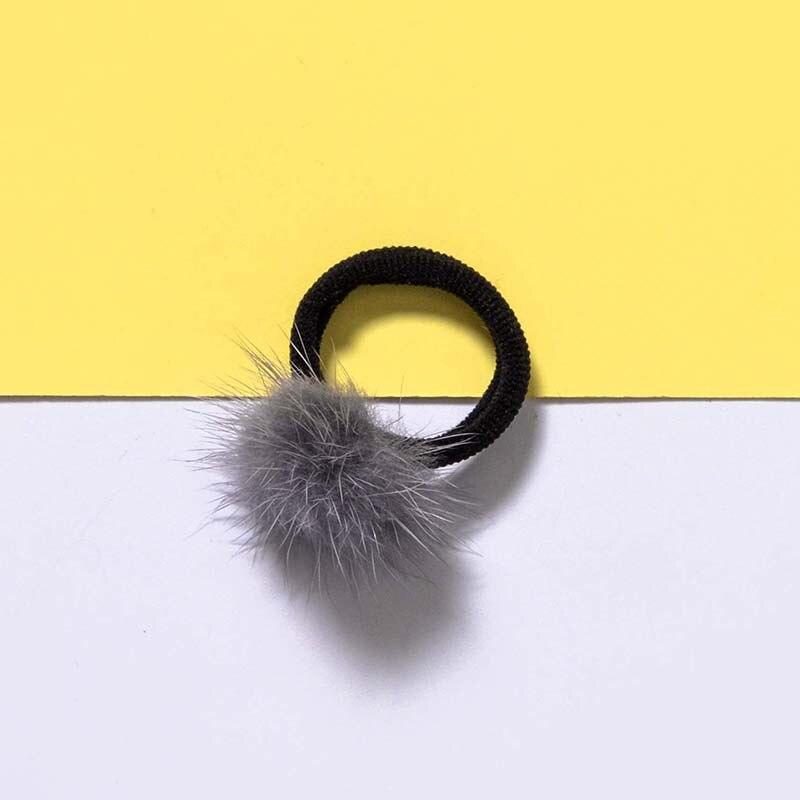 5Pcs Cute Hair Rope Mini Mink Ball Rubber Headbands Girls Children Solid Color Elastic Hair Band For Baby Kids Hair Braider