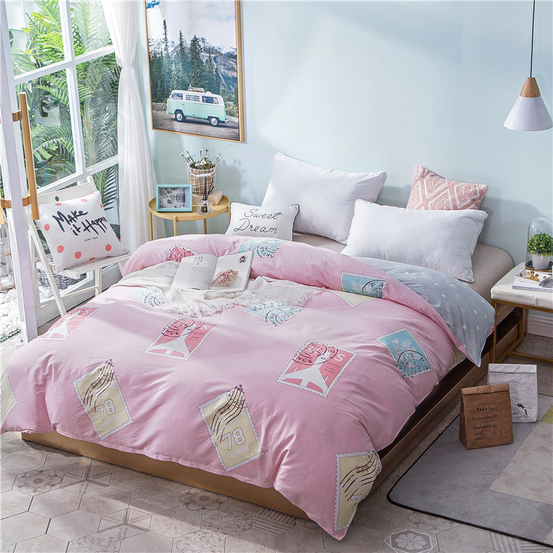 Cartoon Pink Stamp Pattern Double Duvet Covers With Zipper 100% Cotton Comforter Cover 1 Piece Full Queen King Size Quilt Cover
