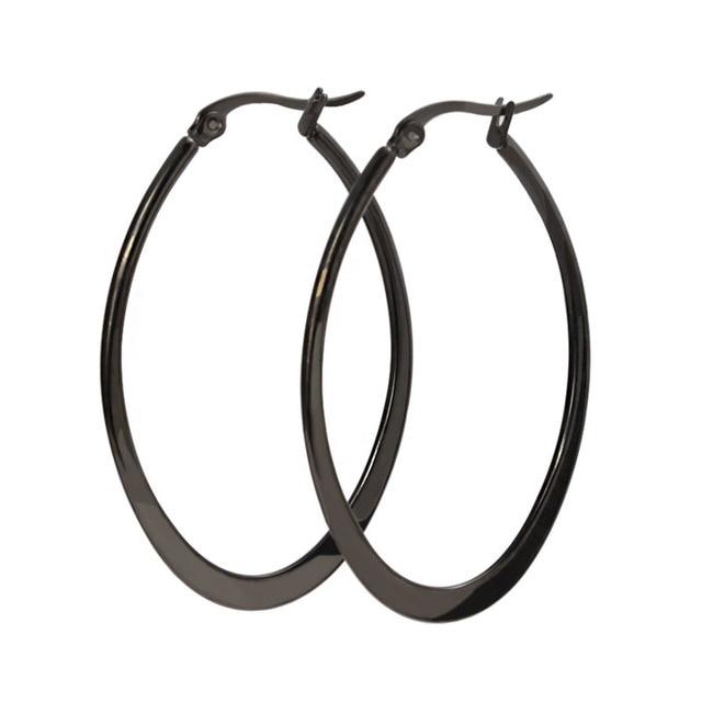 fe37fa799184 Moda negros grandes pendientes de aro de titanio de acero chapado en Color  negro 29.8