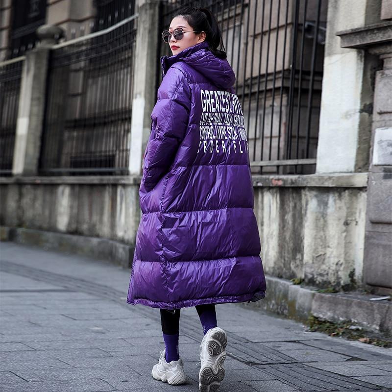 Taille La Capuche Streetwear Manteau Imprimer Mode Chaud À Nouveau Pardessus Femmes Parka Survêtement Femme Plus Veste Purple 2018 D'hiver Parkas Manteaux 7x1Taq5